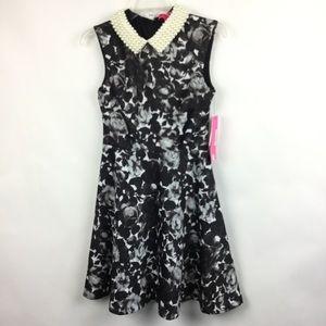 Betsey Johnson 2 Dress Black White Pearl Collar